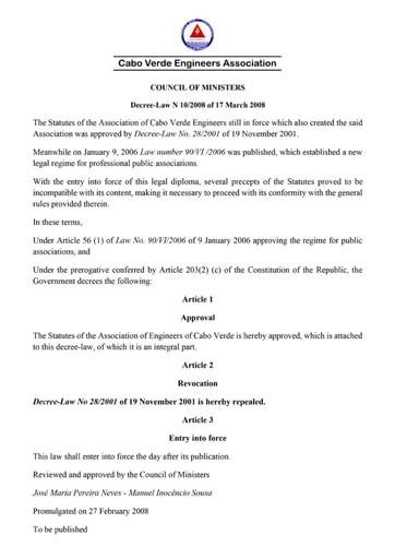 Estatuto OECV - Versão Inglesa